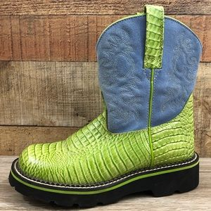 Ariat green blue round toe fat baby cowboy boot